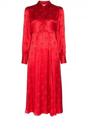 Платье-рубашка с цветочным принтом byTiMo. Цвет: красный