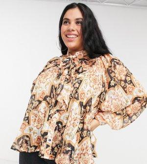 Разноцветная блузка с большим бантом и складками -Многоцветный Simply Be