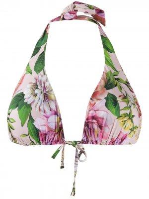 Лиф бикини с цветочным принтом Dolce & Gabbana. Цвет: розовый