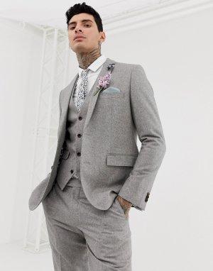Зауженный пиджак из твида с добавлением шерсти Wedding-Серый Harry Brown
