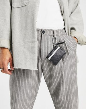 Кожаная кредитница с контрастной вставкой и застежкой -Черный цвет ASOS DESIGN