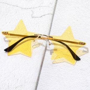 Мужские солнцезащитные очки без оправы SHEIN. Цвет: жёлтые