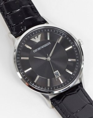 Часы с черным кожаным ремешком AR11186-Черный цвет Emporio Armani