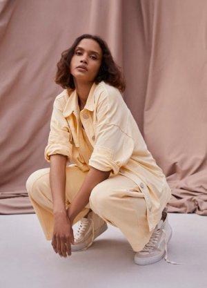 Кожаные кроссовки минеральный краситель - Hoop1 Mango. Цвет: экрю