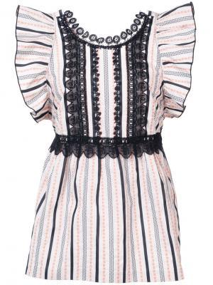 Топ с оборками и контрастной окантовкой Anna Sui. Цвет: белый
