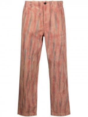Прямые брюки с принтом тай-дай Stussy. Цвет: красный