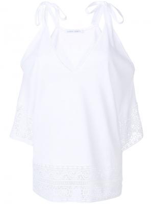 Блузка с открытыми плечами и вышивкой Alberta Ferretti. Цвет: белый