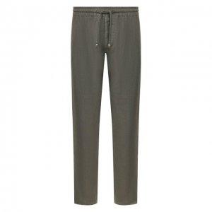 Льняные брюки Altea. Цвет: хаки