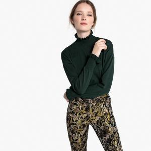 Пуловер с воротником-стойкой воланом LA REDOUTE COLLECTIONS. Цвет: сиреневый,сливовый,темно-зеленый