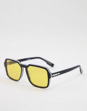 Черные квадратные солнцезащитные очки унисекс с желтыми линзами Cut Twenty-Черный цвет Spitfire