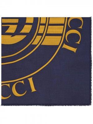 Платок с логотипом Gucci. Цвет: синий