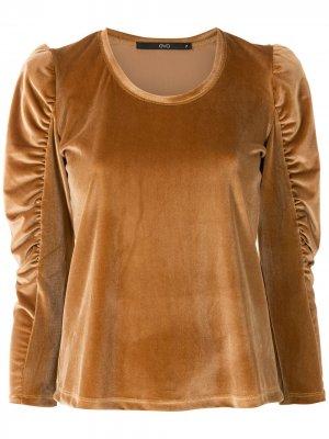 Топ с присборенными рукавами Eva. Цвет: коричневый