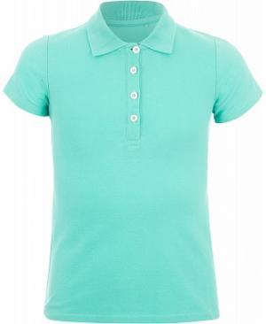 Поло для девочек , размер 158 Demix. Цвет: голубой