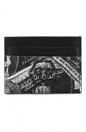 Кожаный футляр для кредитных карт Philipp Plein. Цвет: черный