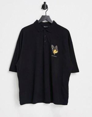 Черная футболка-поло в стиле oversized с принтом бабочки на груди -Черный цвет ASOS DESIGN