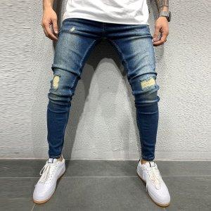 Мужской Рваные джинсы скинни SHEIN. Цвет: темно-синий