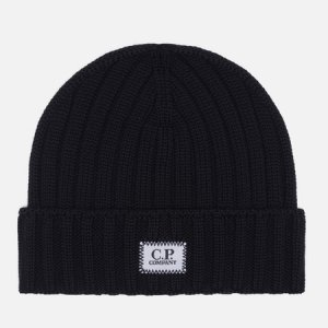 Шапка Extra Fine Merino Wool Logo C.P. Company. Цвет: чёрный