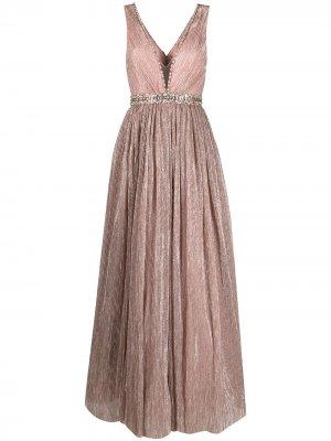 Вечернее платье с плиссировкой и пайетками Jenny Packham. Цвет: розовый