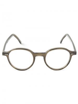 Оптические очки в круглой оправе Lesca. Цвет: зелёный