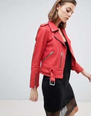 Кожаная куртка с ремнем AllSaints. Цвет: красный