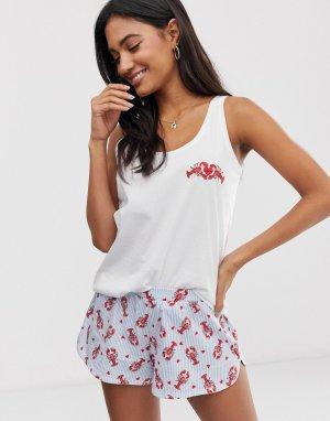 Трикотажная пижама с майкой и шортами сине-белой расцветки Lobster-Белый Hunkemoller