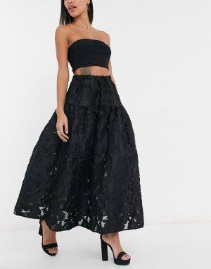 Черная свободная юбка макси из органзы Dream Sister Jane