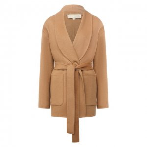Шерстяное пальто MICHAEL Kors. Цвет: бежевый