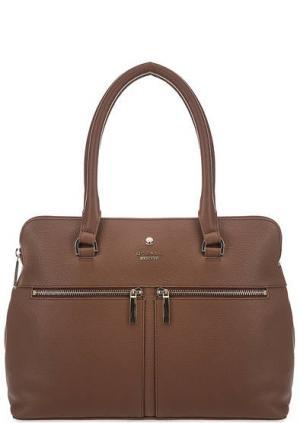 Кожаная сумка через плечо с карманами Modalu London. Цвет: коричневый
