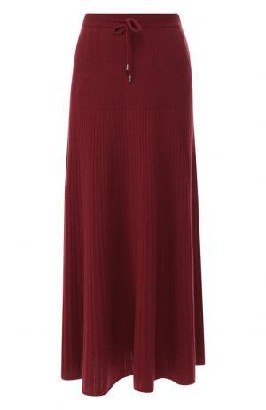 Кашемировая юбка-миди с эластичным поясом Loro Piana. Цвет: бордовый