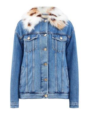 Утепленная джинсовая куртка с меховой отделкой ERMANNO SCERVINO. Цвет: голубой