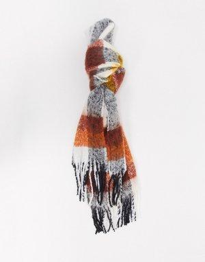 Длинный пушистый шарф в клетку горчичного и коричневого цвета ASOS DESIGN-Многоцветный
