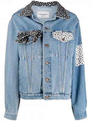 Джинсовая куртка с контрастными вставками в горох Forte Dei Marmi Couture. Цвет: синий