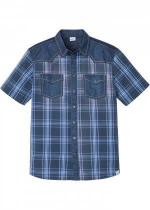 Рубашка с коротким рукавом bonprix. Цвет: синий