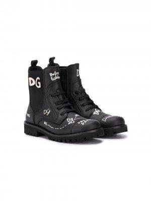 Ботинки с логотипом Dolce & Gabbana Kids. Цвет: черный