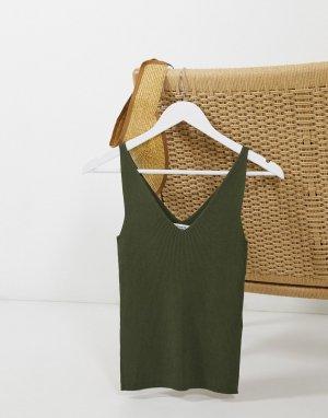 Трикотажная майка цвета хаки -Зеленый JDY