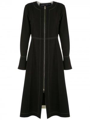 Платье миди на молнии с длинными рукавами Gloria Coelho. Цвет: черный