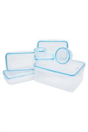 Набор контейнеров SAGITTA, 7 шт DOSH I HOME. Цвет: прозрачный, голубой