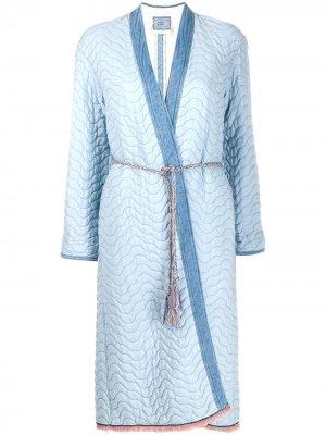 Пальто-пуховик с поясом Forte. Цвет: синий