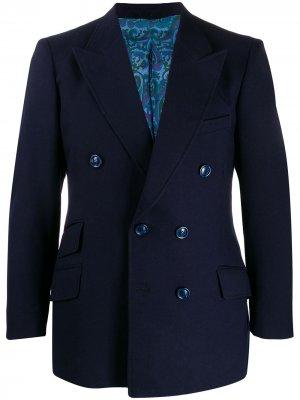 Двубортный пиджак 1970-х годов Pierre Cardin Pre-Owned. Цвет: синий