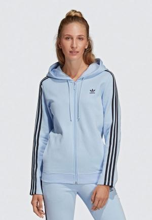 Толстовка adidas Originals ZIP HOODIE. Цвет: голубой
