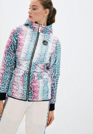 Куртка утепленная Roberto Cavalli Sport. Цвет: разноцветный