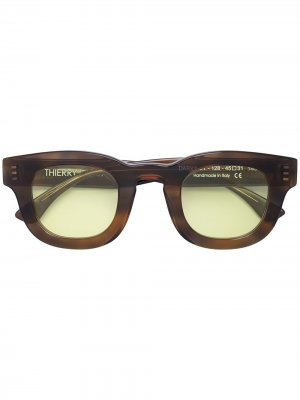 Солнцезащитные очки Darksidy в квадратной оправе Thierry Lasry. Цвет: коричневый