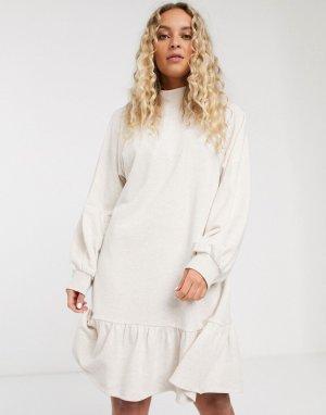 Бежевое свободное трикотажное платье из органического хлопка -Бежевый Monki