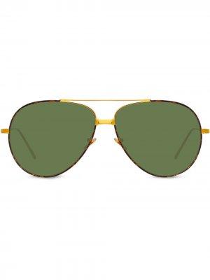 Солнцезащитные очки-авиаторы черепаховой расцветки Linda Farrow. Цвет: коричневый