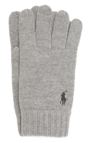 Шерстяные перчатки Polo Ralph Lauren. Цвет: светло-серый