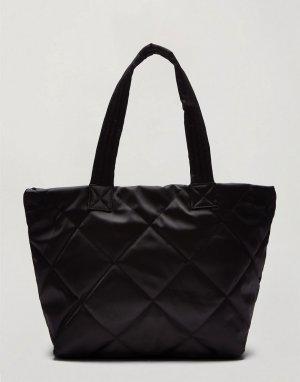 Большая стеганая сумка-тоут черного цвета -Черный цвет Miss Selfridge