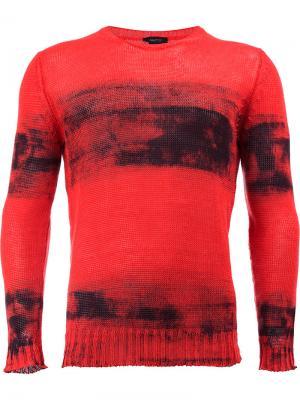 Джемпер с потертой отделкой Avant Toi. Цвет: красный