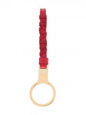 Брелок с логотипом Prada. Цвет: красный