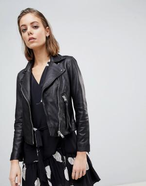 Классическая кожаная куртка Dalby AllSaints. Цвет: черный