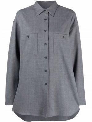 Рубашка с заостренным воротником Filippa K. Цвет: серый